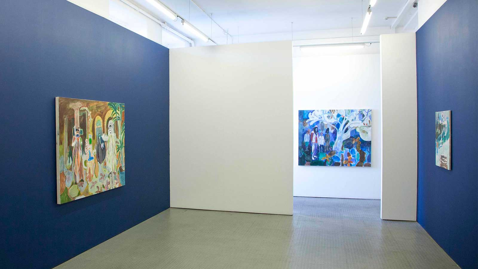 Several paintings on display at Eleanor Moreton's exhibition.