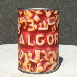 A tin of alphabetti spaghetti spelling out the word algorithms