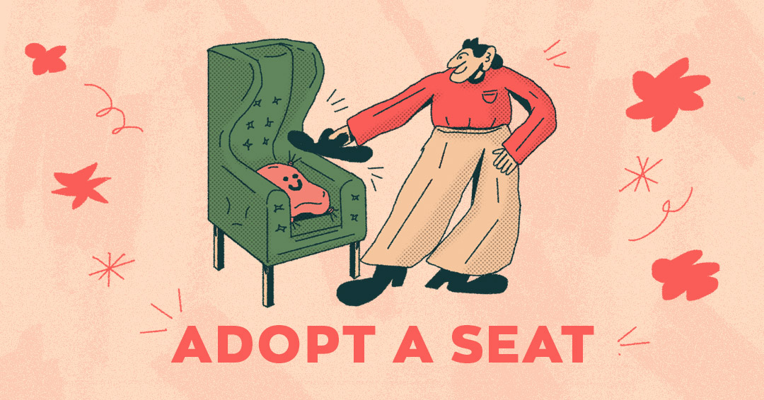 An illustration of a man smiling and putting his black hat down on a green arm chair