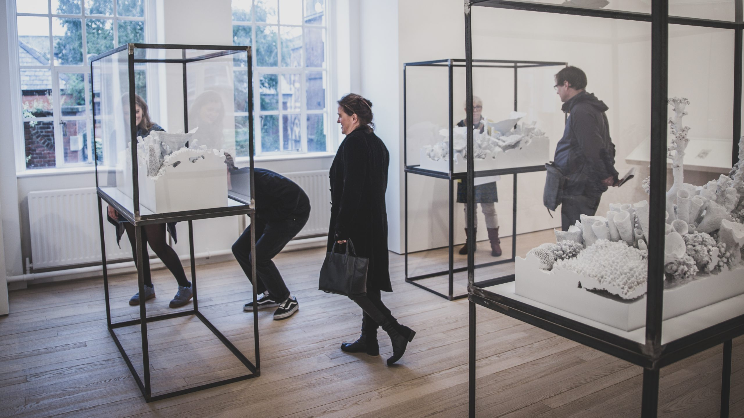 Photograph of people in Exeter Phoenix gallery looking at artwork in glass cases