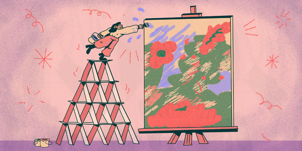 An illustration of a man standing on top of a house of cards to reach the top of a painting with his paintbrush