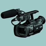 The JVC GY HM150E camera.