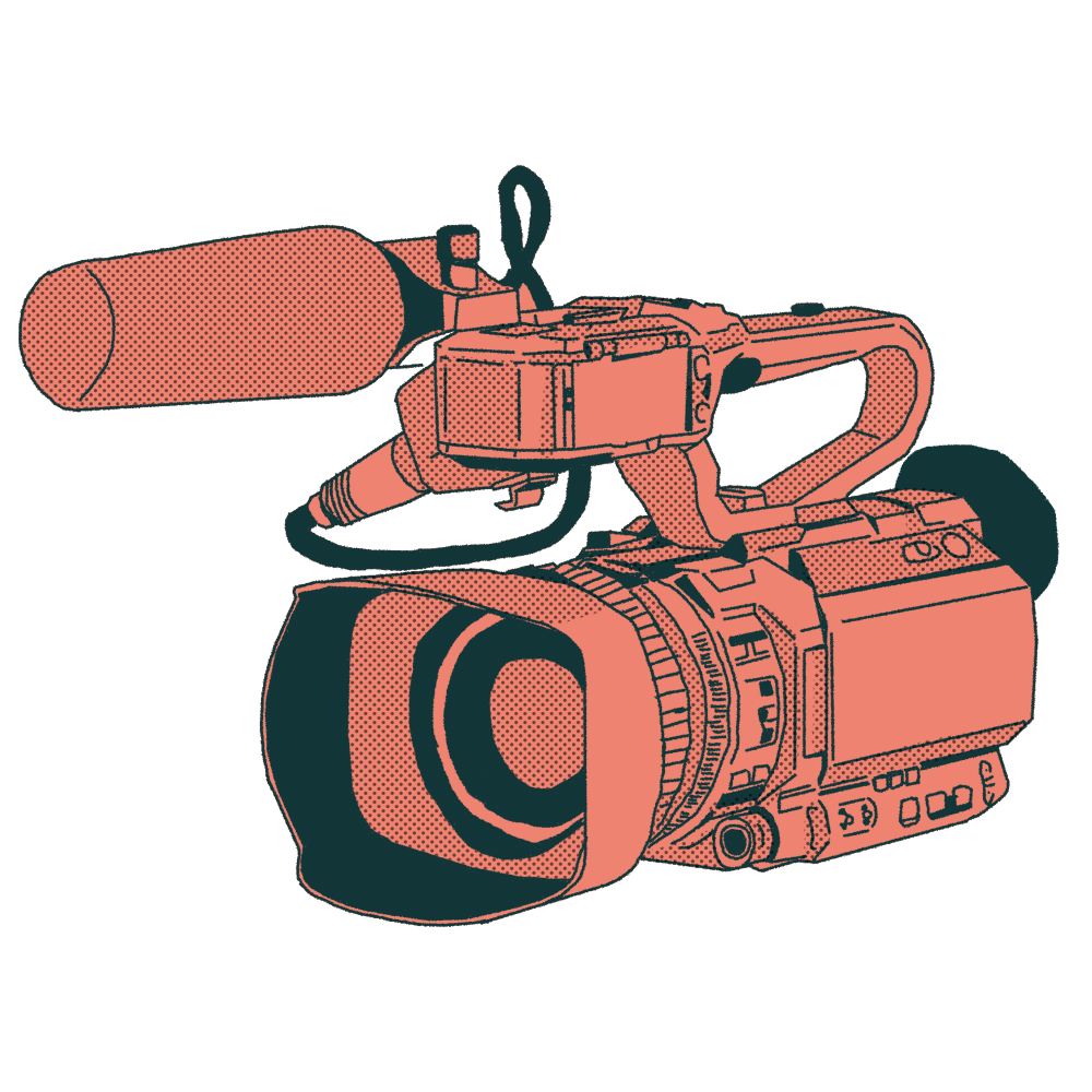 An illustration of a pink video camera
