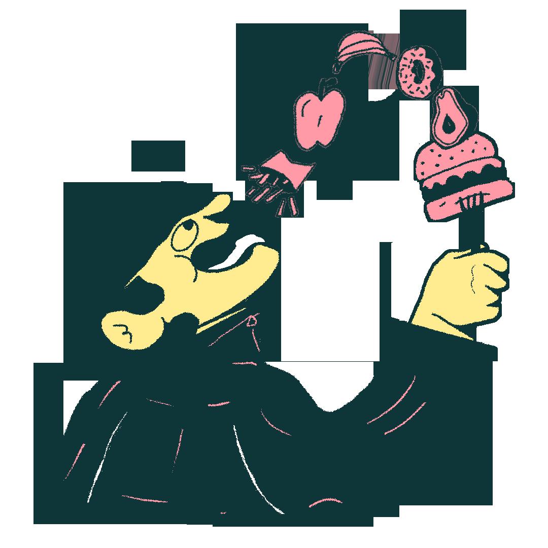 Illustration of a man eating a loaded forkful of food
