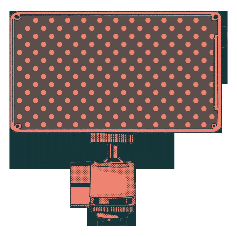 An illustration of a film studio light