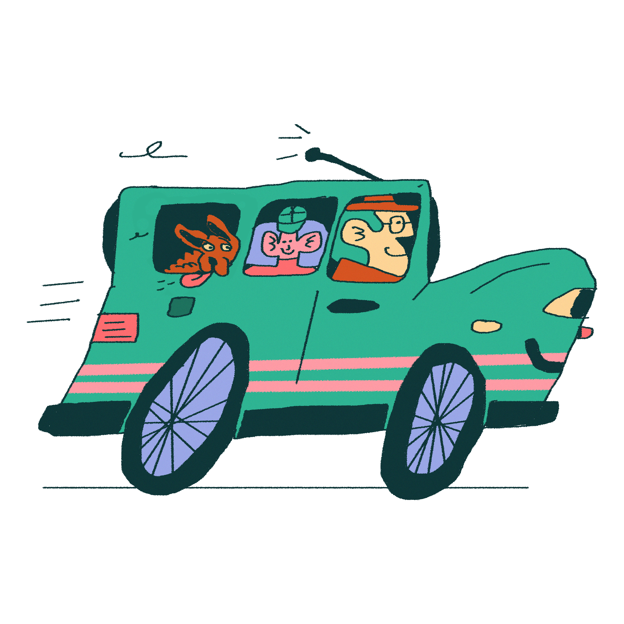 Illustration of a smiling green car