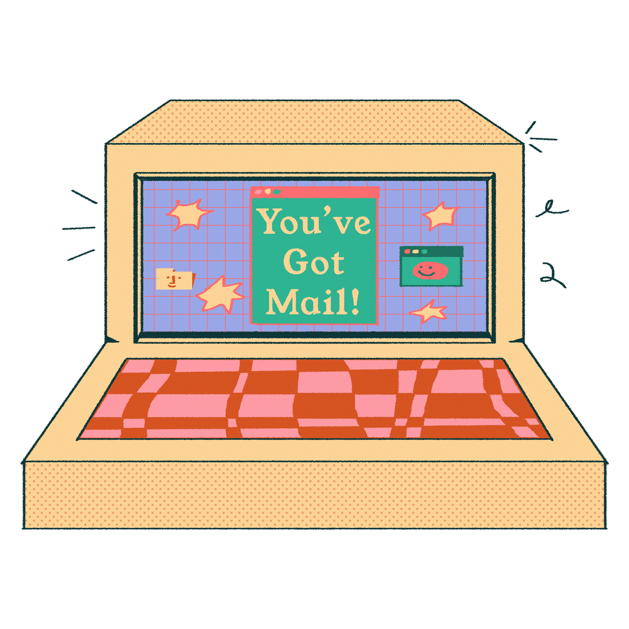 illustration of a retro desktop computer