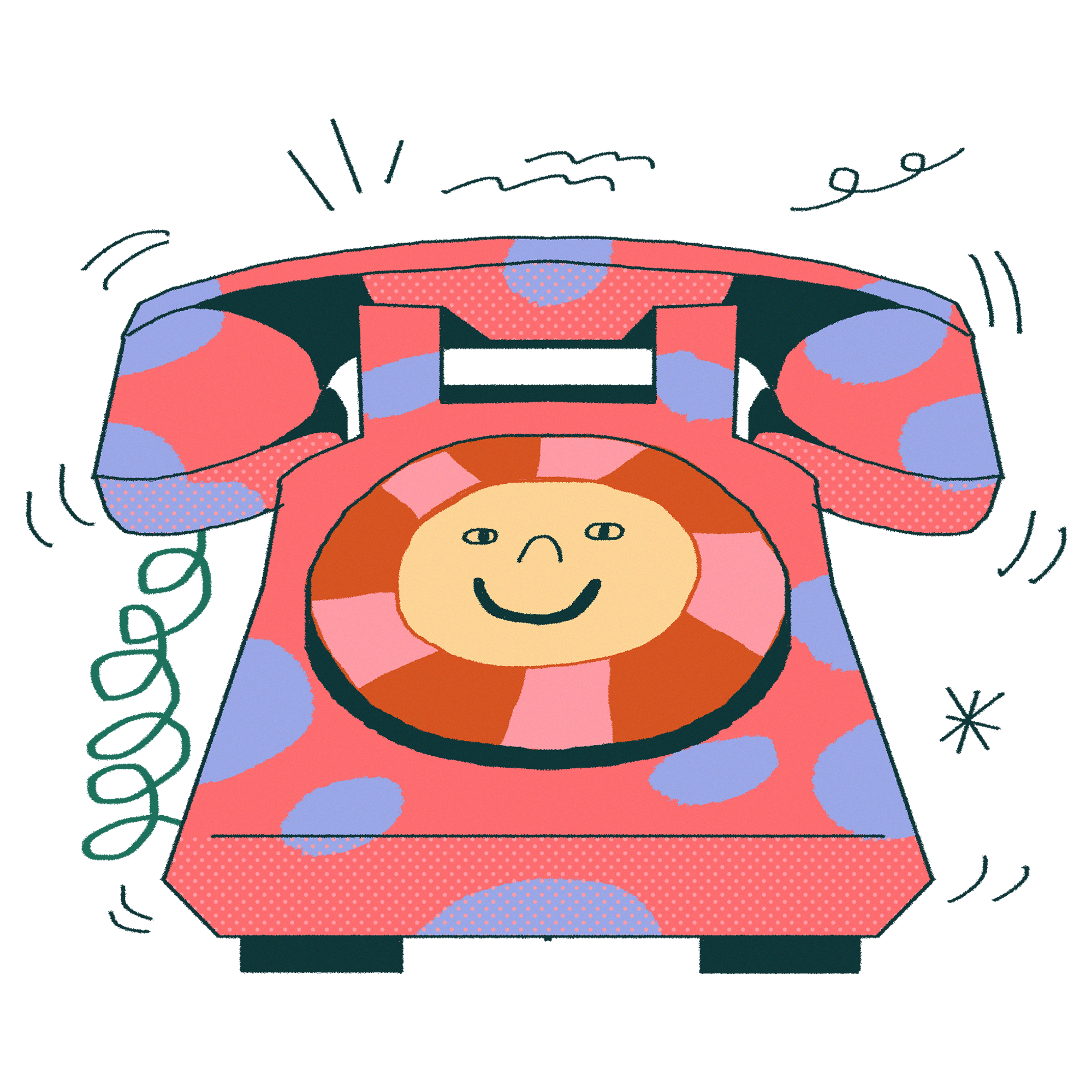Illustration of a pink phone with blue spots