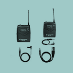 A pair of radio microphones and wires.