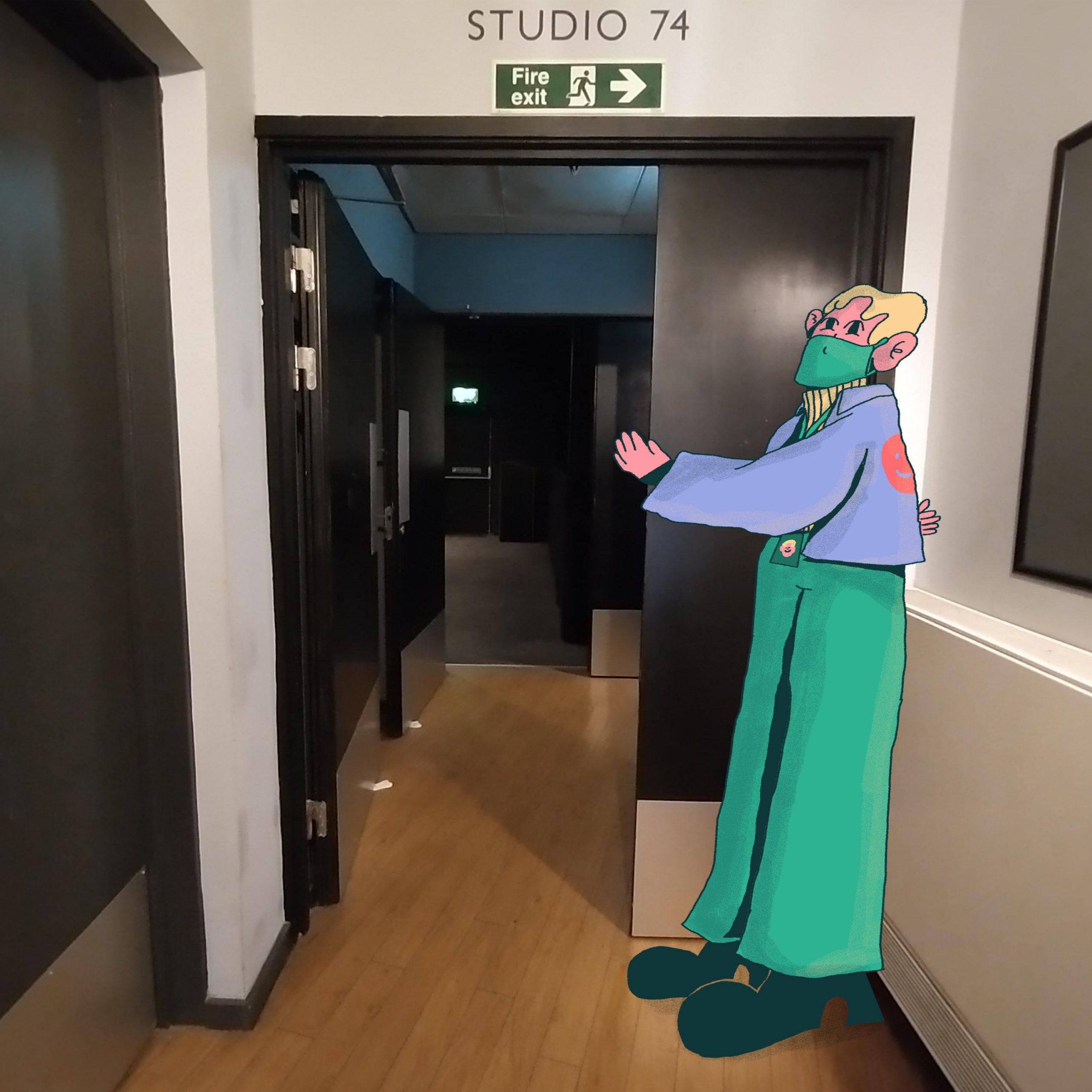 A cinema steward holds the cinema door open