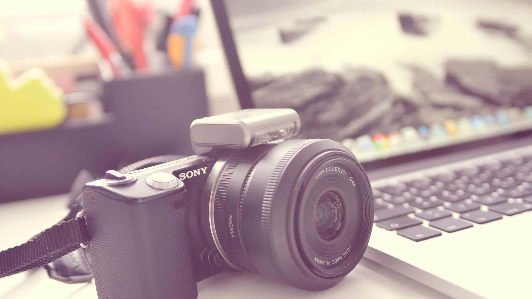 A digital camera and a laptop