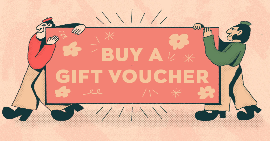 2 illustrated men carry a sign reading 'buy a gift voucher'