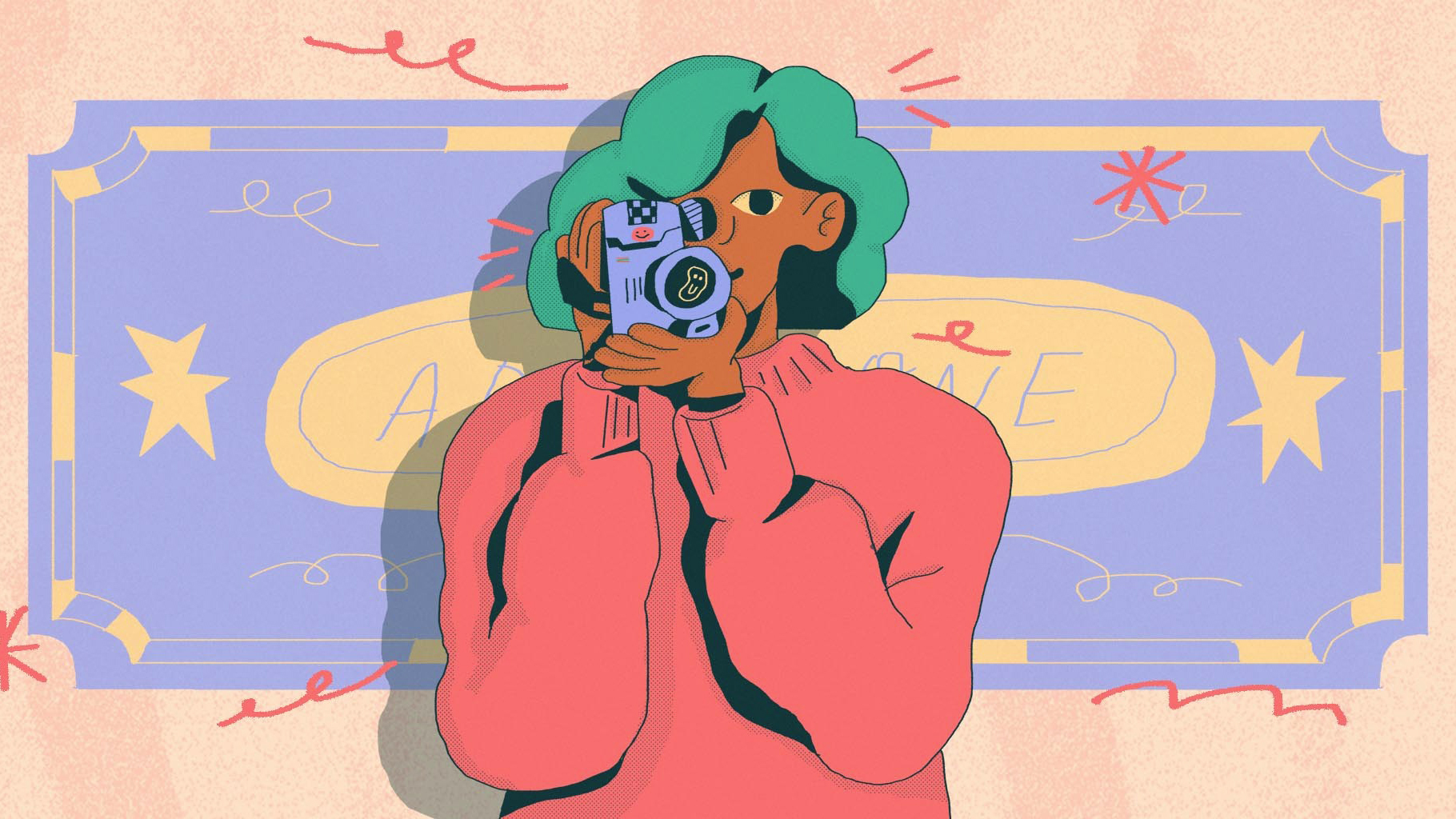 Illustration of a woman holding a camera to her face and filming