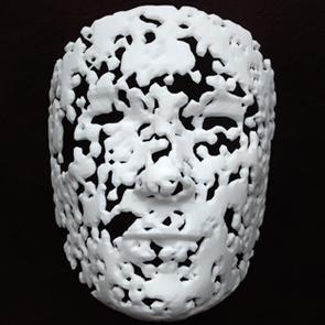 photograph of an artwork that resembles a face mould