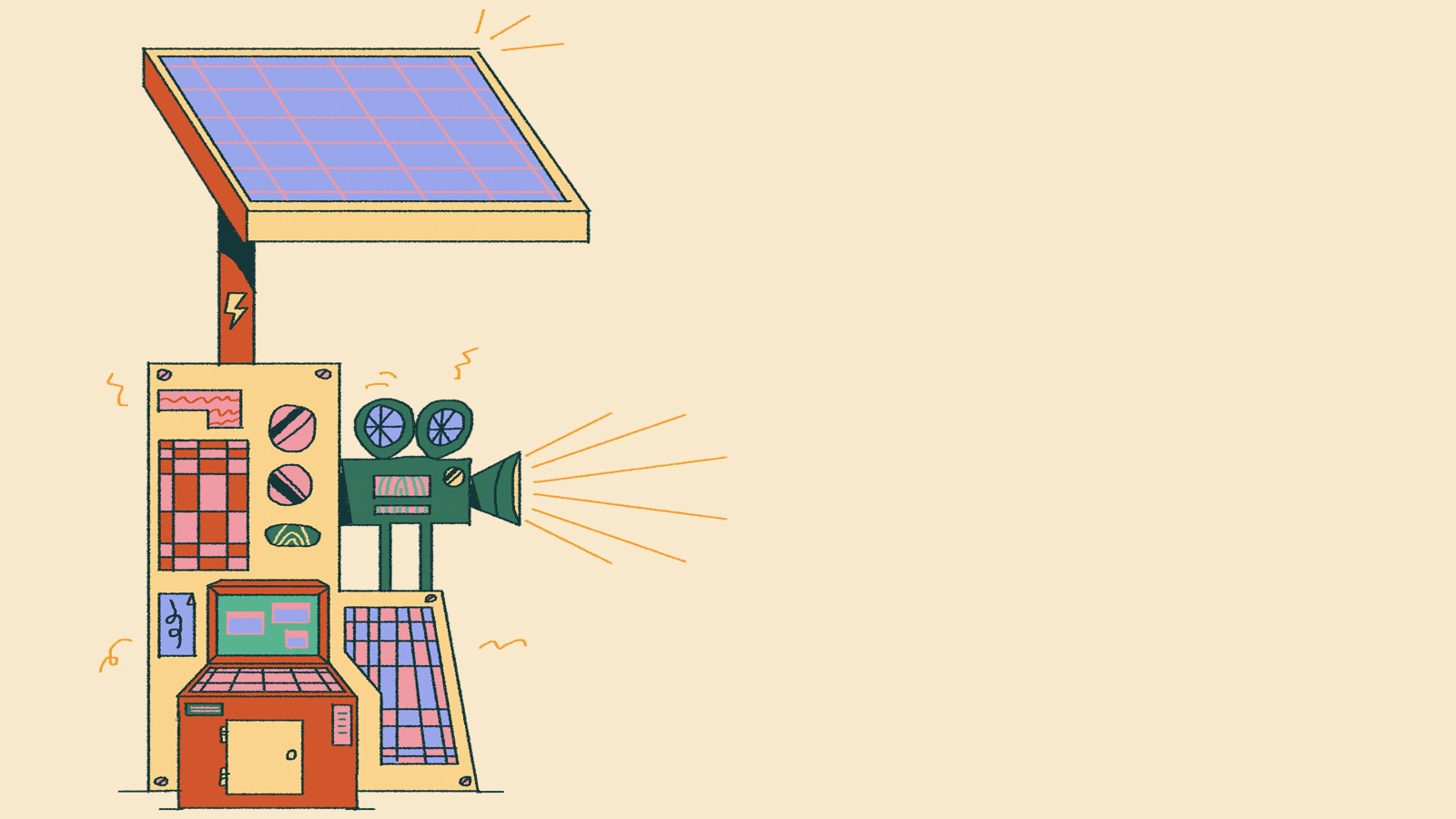 An illustration of a solar panel over a film projector