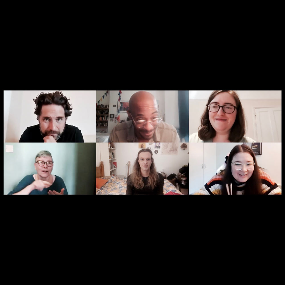 6 people taking part in a zoom video call
