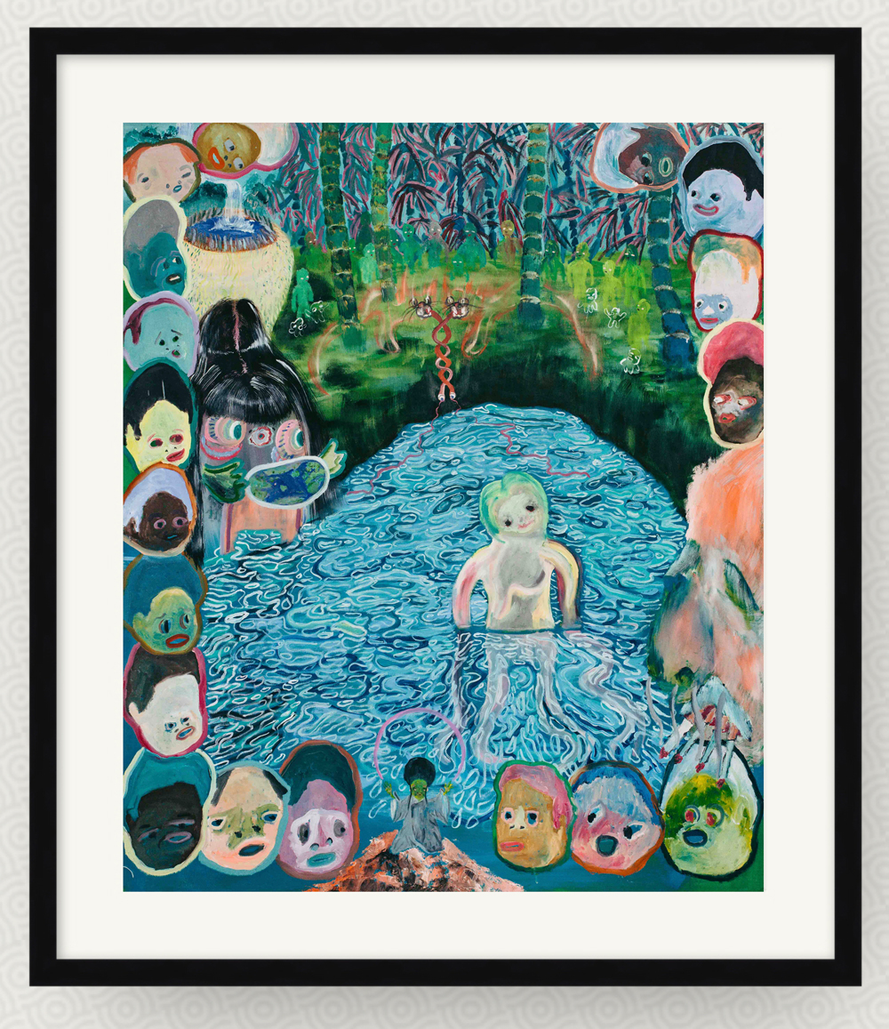 A framed painting. A pale white human figure is in a blue lake in front of a forest. The edge of the print is lined with around 20 disembodied heads.