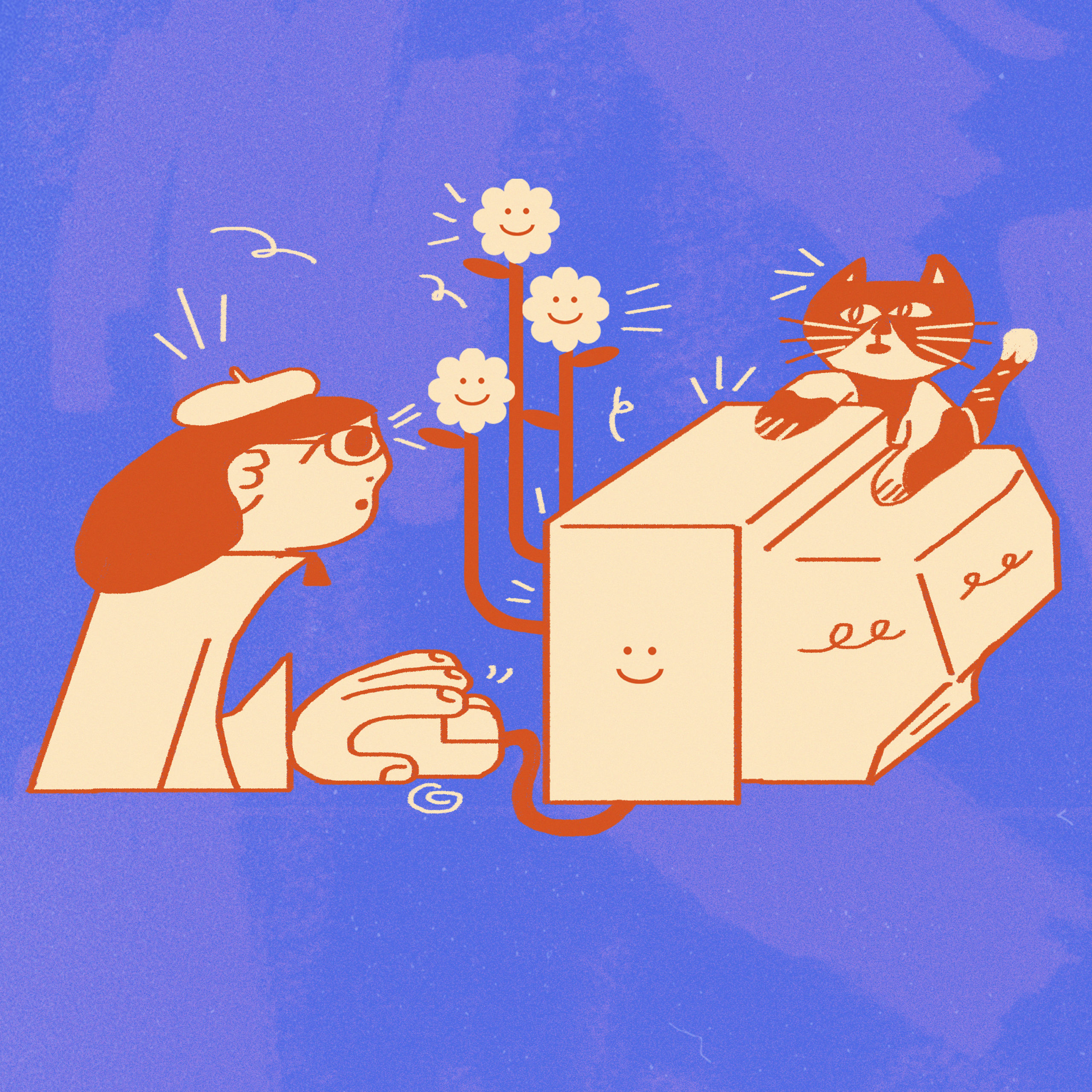 An illustration with a person typing on an old fashioned computer that is sprouting flowers. A cat sits on top of the computer.