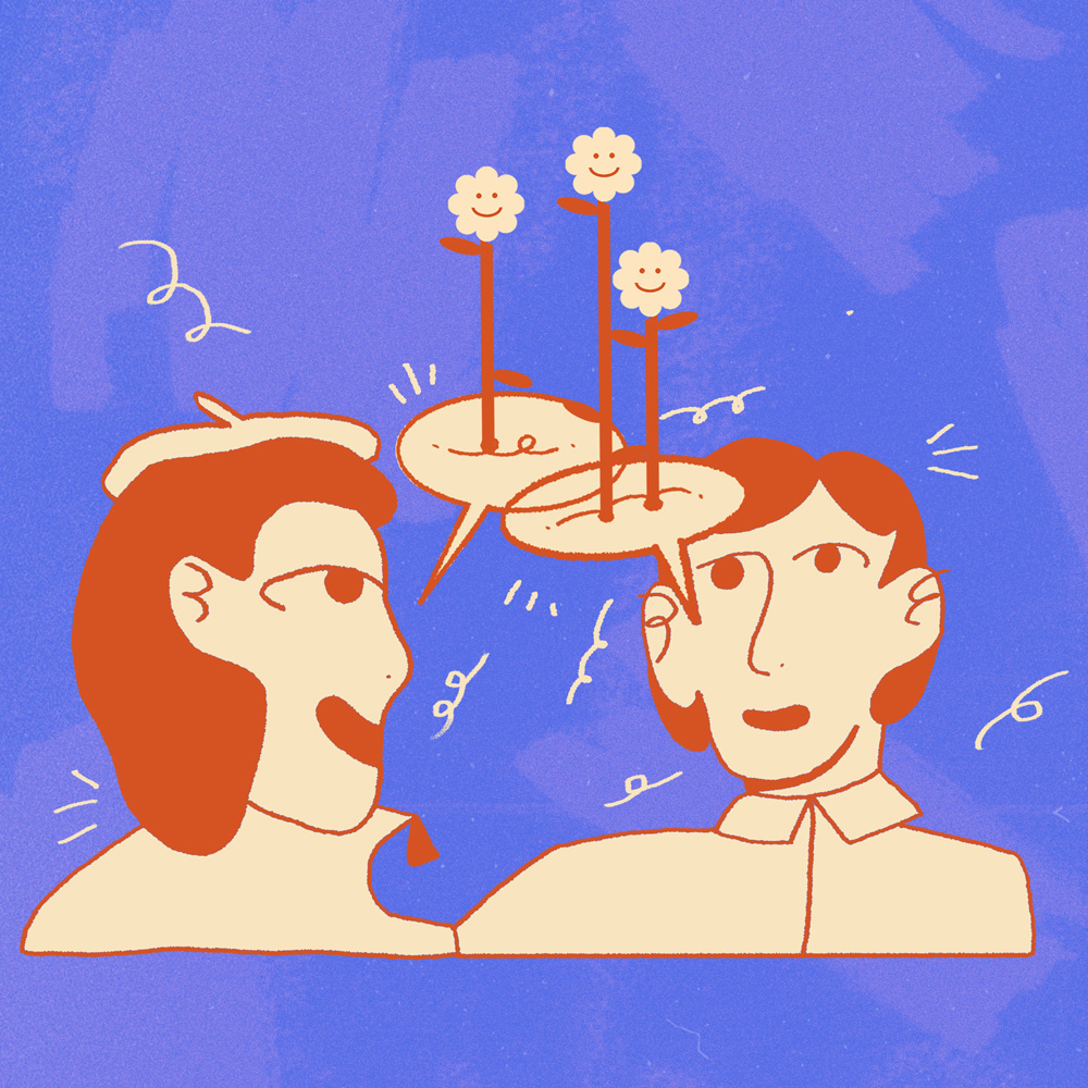 An illustration of two people drawn in peach and orange colours having a conversation. Speech bubbles above them are blooming flowers. The background is bright purple.