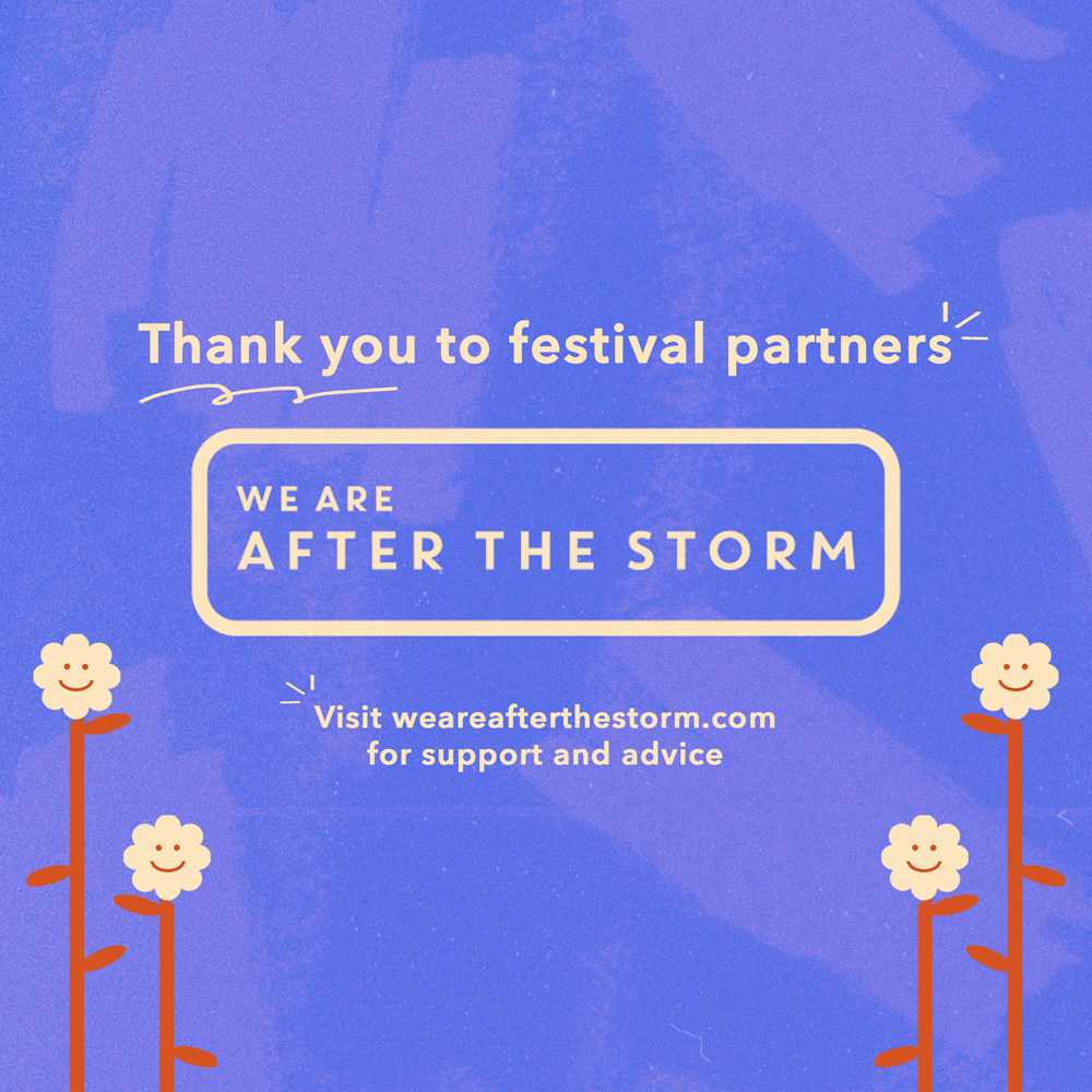 An illustration of daisies on a purple background. Text reads Thank you to festival partners After The Storm