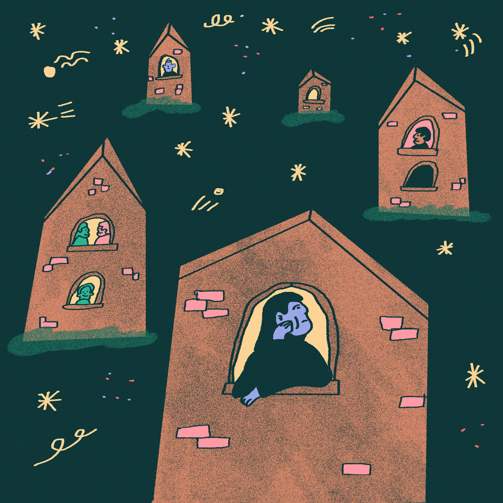 An illustration shows several red brick houses floating in a starry sky. People are at the window of each house, looking out.