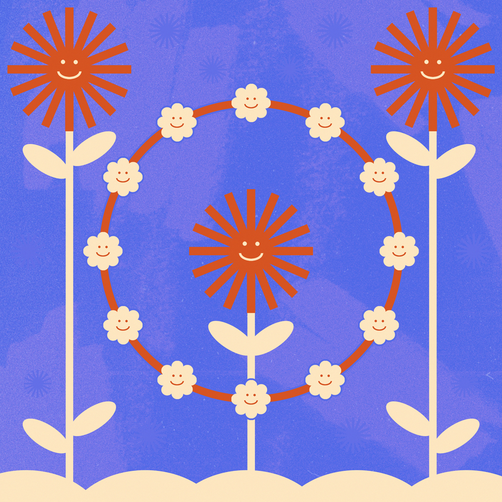 An illustration on a purple background. Three large orange smiling flowers are surrouded by a daisy chain of peach coloured flowers