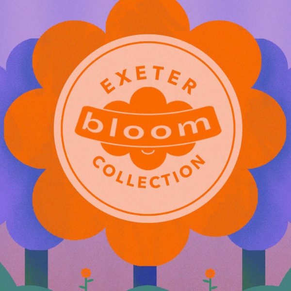 An illustration of a large pink flower. Text reads Exeter Bloom Collection