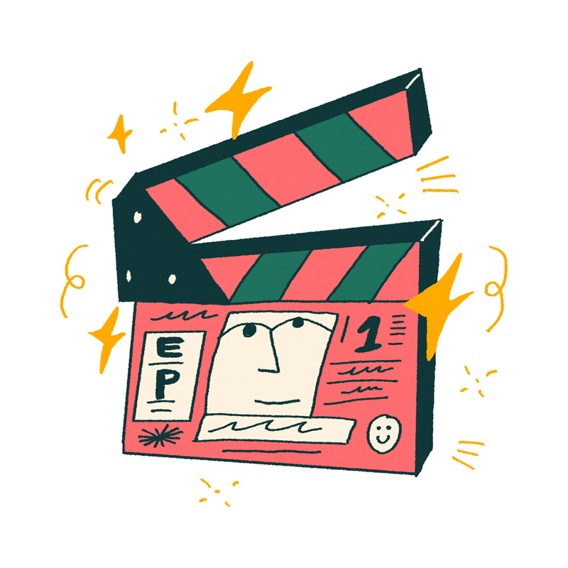 Illustration of a pink and dark green film clappeboard surrounded by gold stars