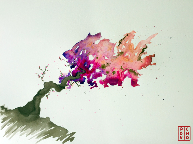 A painting of an abstract blossom tree, leaning heavily to one side
