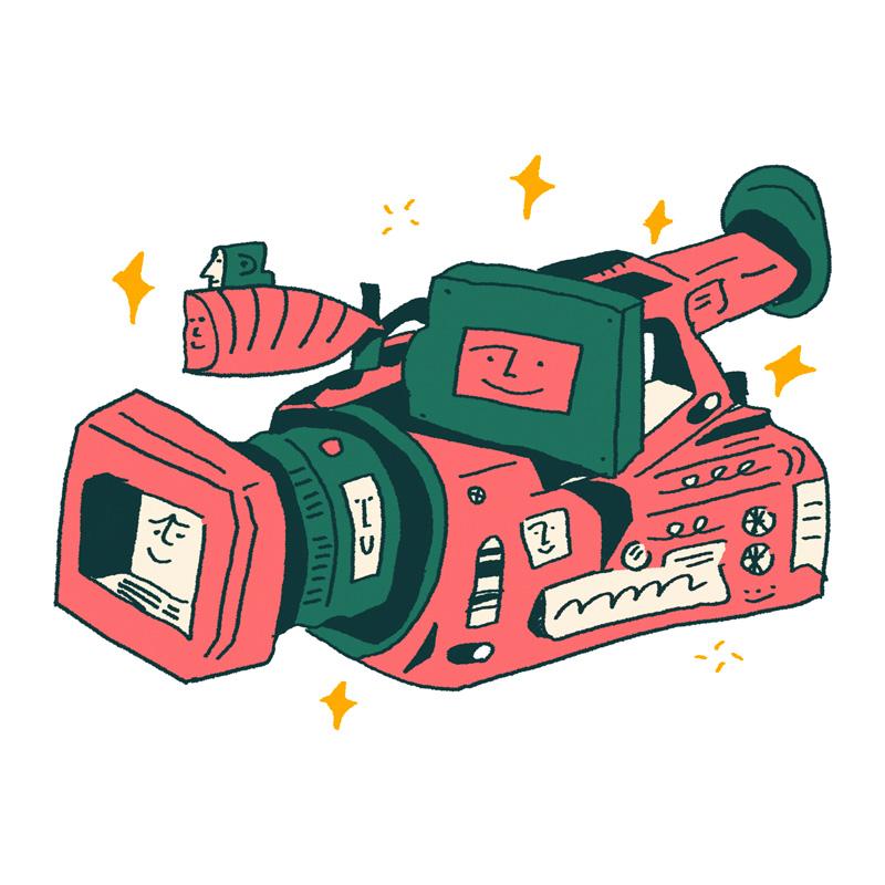 Illustration of a pink and dark green film camera