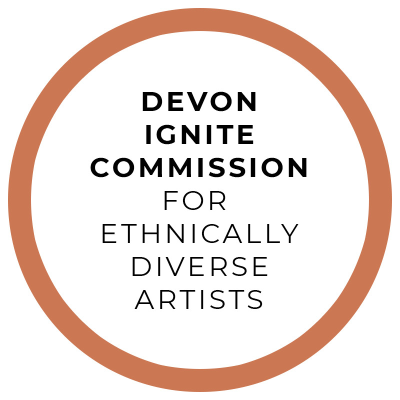 A thin orange circle. Text in the circle reads: Devon Ignire Commission, for ethically diverse artists