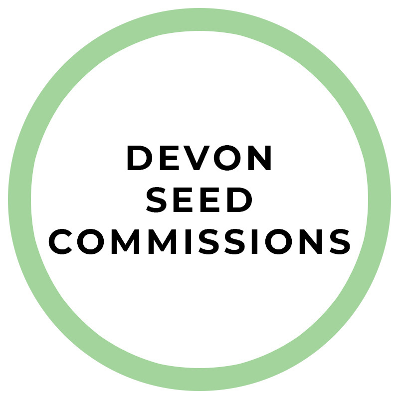 A thin green circle. Text in the circle reads: Devon seed commissions