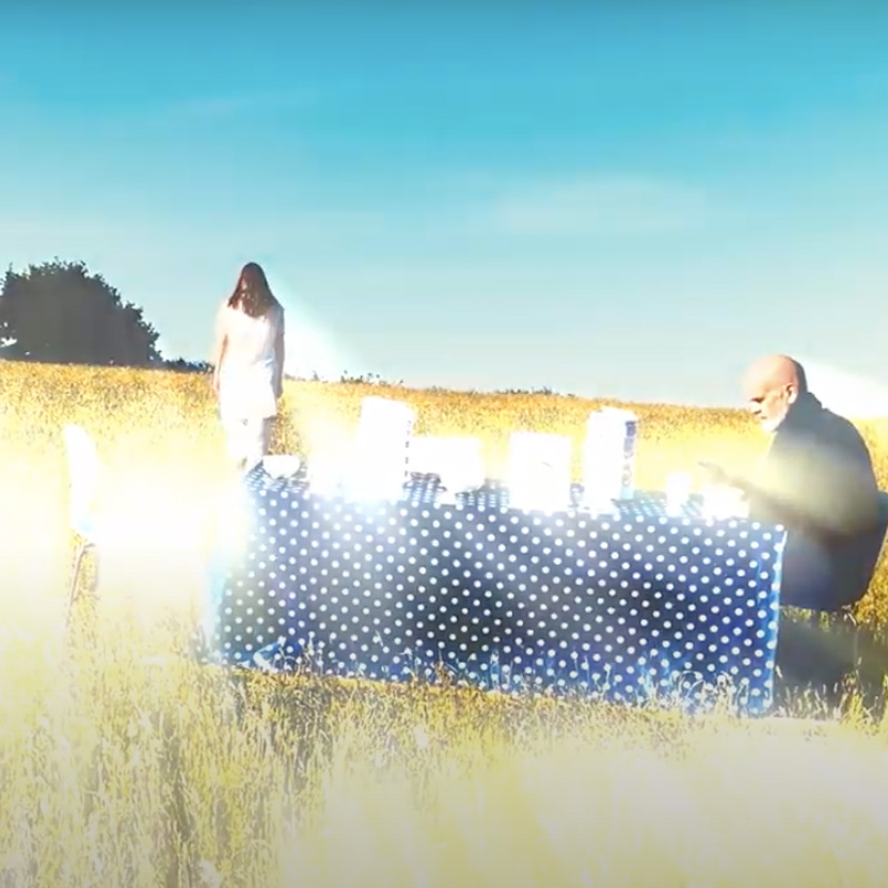 A still from the film BOOM sees a man sitting at a table in a field. A woman stands nearby in a white dress.
