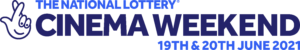 Logo of national lottery. Text reads: the national lottery cinema weekend, 19th and 20th June 2021