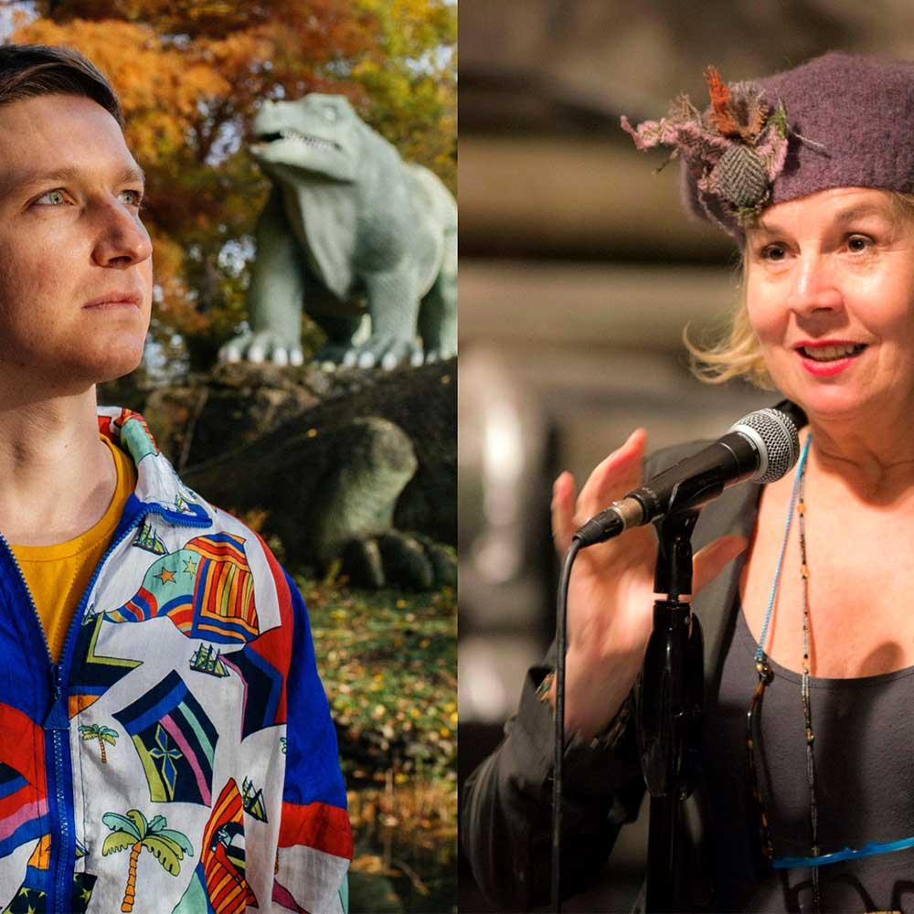 An image split in 2, one half is a portrait of artist Gecko, the other Julie Mullen.