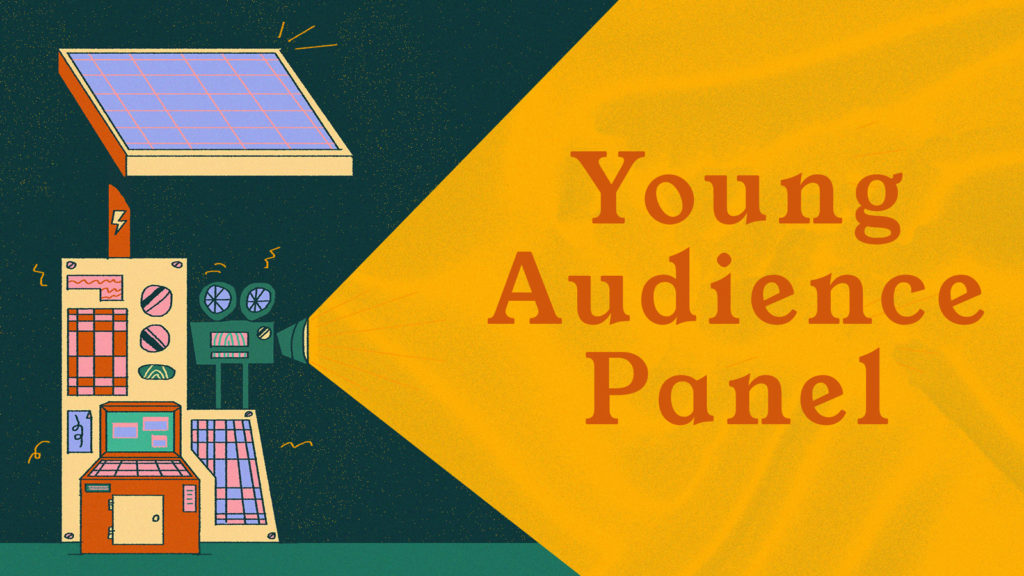 An illustration shows a film projector being powered by a solar panel. It projects a beam of yellow light. Orange text reads: Young Audience Panel