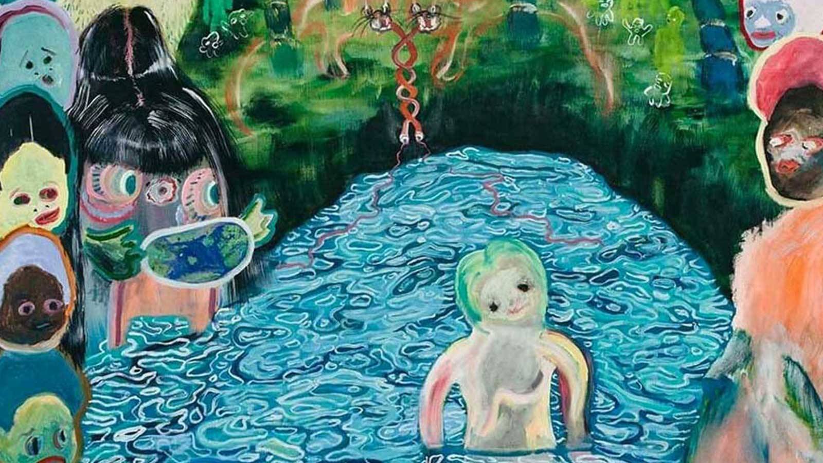 A painting by Huhtamaki Wab featuring a small white humanoid standing in a waist length pool of water in a forest. Surrounding the border of the painting are several different coloured faces with their mouthes open.