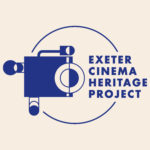 A logo of an old fashioned camera with text reading Exeter Cinema Heritage Project.