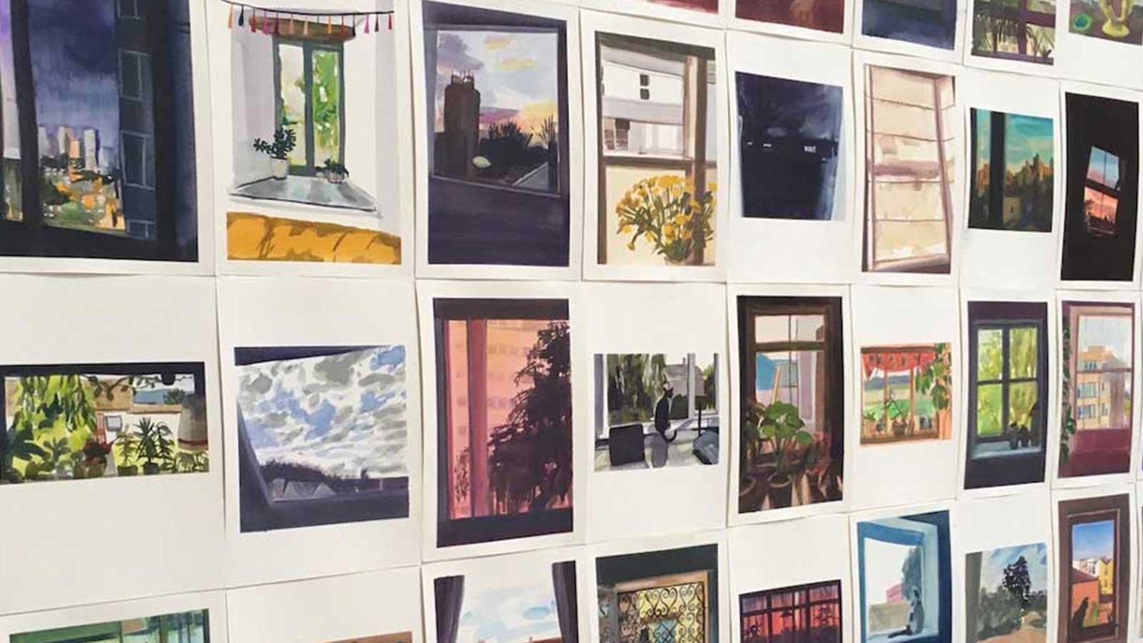 A large selection of illustrations of views from people's windows. The images are laid out on a wall and form a perfect square.