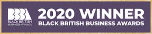 A logo that reads: 2020 winner, black british business awards.